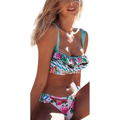 Amazon.com  ZZRWOMEN Women Two Pieces Bikini Set Ruffle Flounce Bathing  Suit Swimwear  Clothing 6785837ebf5
