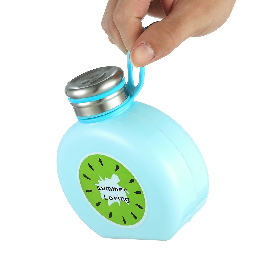 Botella de Vidrio de Frutas Oneisall con Dibujos Animados, Creativa Personalidad, Taza de Agua portátil con asa para niñas, Estudiantes, 300 ML, Color Azul, ...