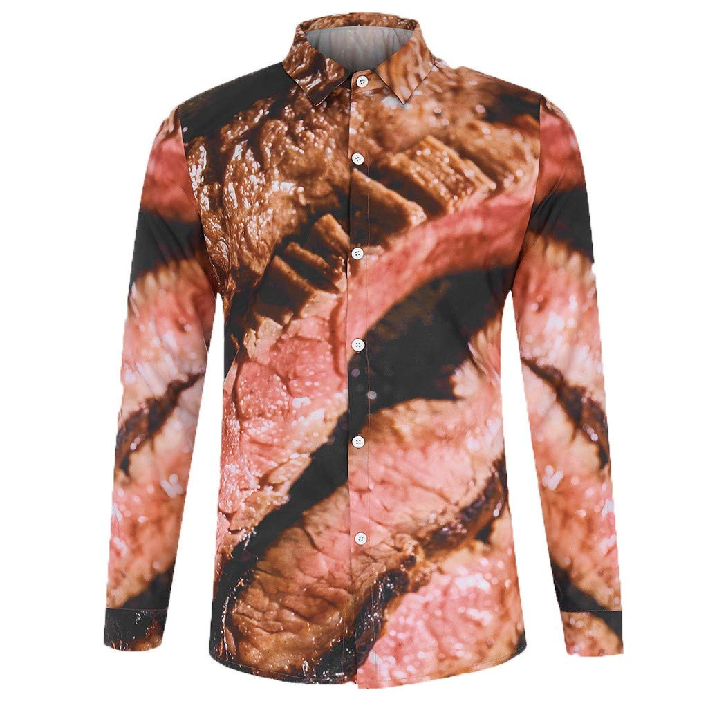 Mens Casual Long Sleeve Button-Down Shirts Novelty 3D Meat Print Slim Funny T-Shirt Tops