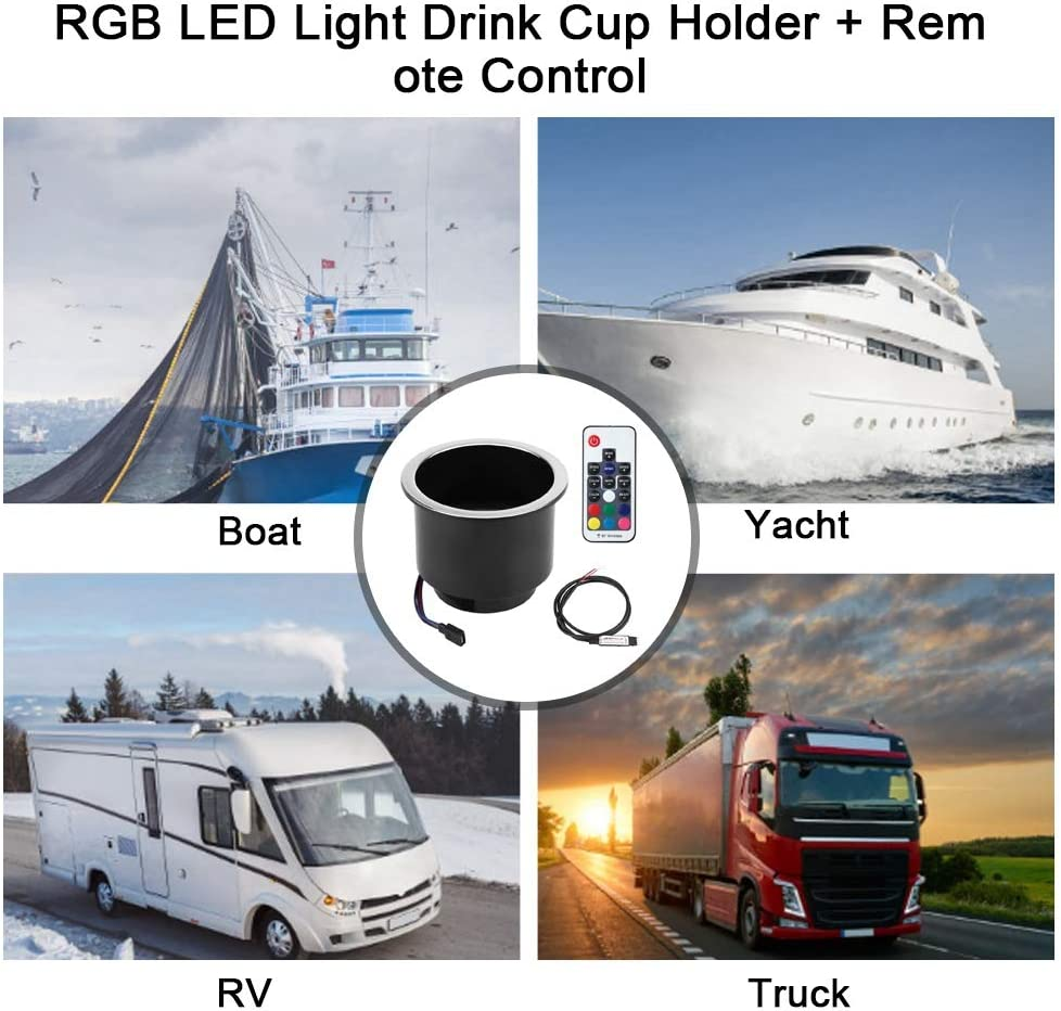 Qiilu LED RGB Drink Cup Holder with Remove Control,Plastic Bottle Cup Holder with LED Light Universal Fit for Marine RV Truck.