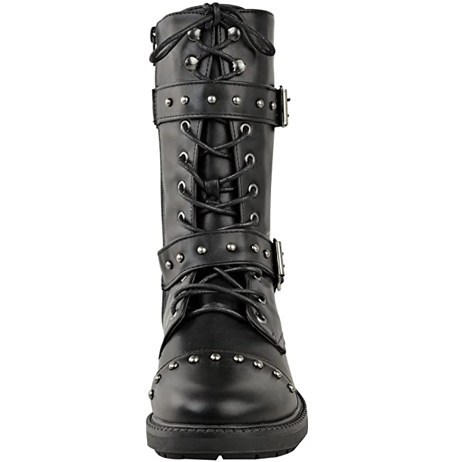 Womens Ladies Chunky Studded Flat Ankle Boot Biker Strappy Winter Calf High  Size: Amazon.co.uk: Shoes & Bags