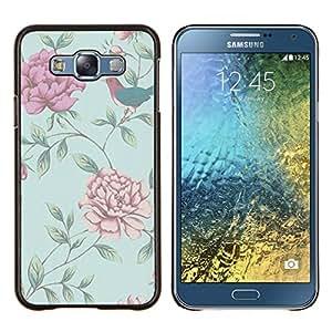 LECELL--Funda protectora / Cubierta / Piel For Samsung Galaxy E7 E700 -- Wallpaper Roses Blue Bird Pequeño --