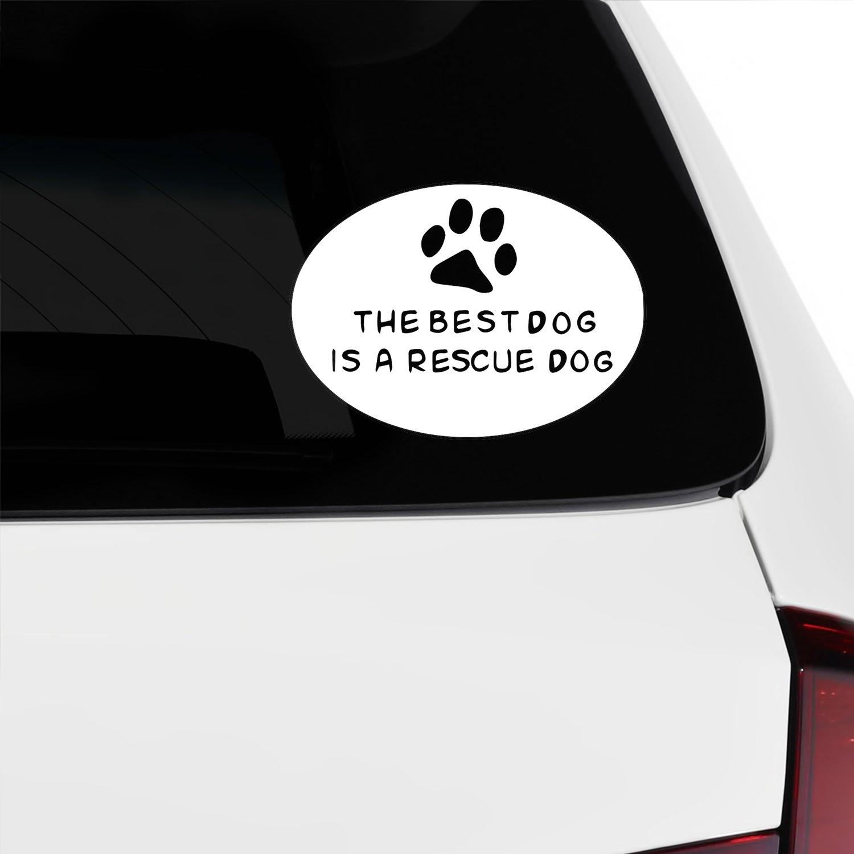 Amazon com best dog rescue dog vinyl car decal sticker 1659 vinyl color white automotive