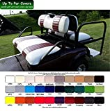E-Z-Go TXT Custom 2-Stripe Golf Cart Seat Cover Set Made with Marine Grade Vinyl - Staple On - Choose Your Colors From Our Color Chart!