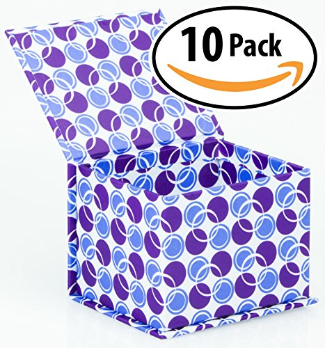 "Designer Magnetic Closure Gift Box 4"" x 3.5"" x 3"", Pack of 10 – Bright, Colorful Fabric Covered Fiberboard Box is Extra Sturdy with Strong Magnet Closer. Perfect for Gifts, Crafts, or Desktop Storage."