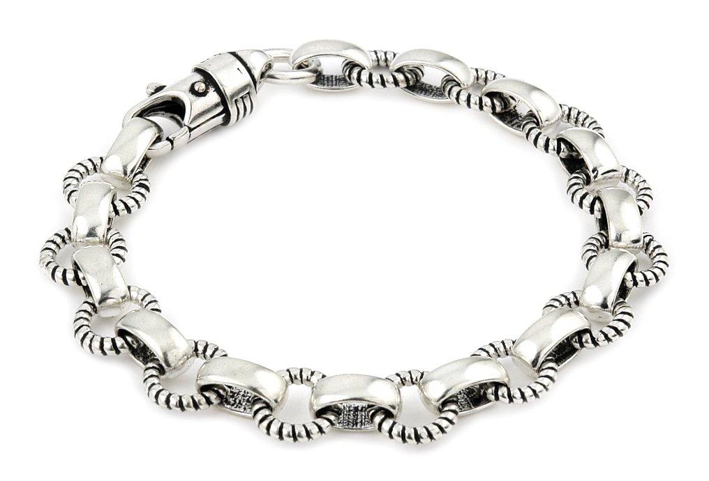 Twisted Blade 925 Sterling Silver Round Rope Link Bracelet 7''