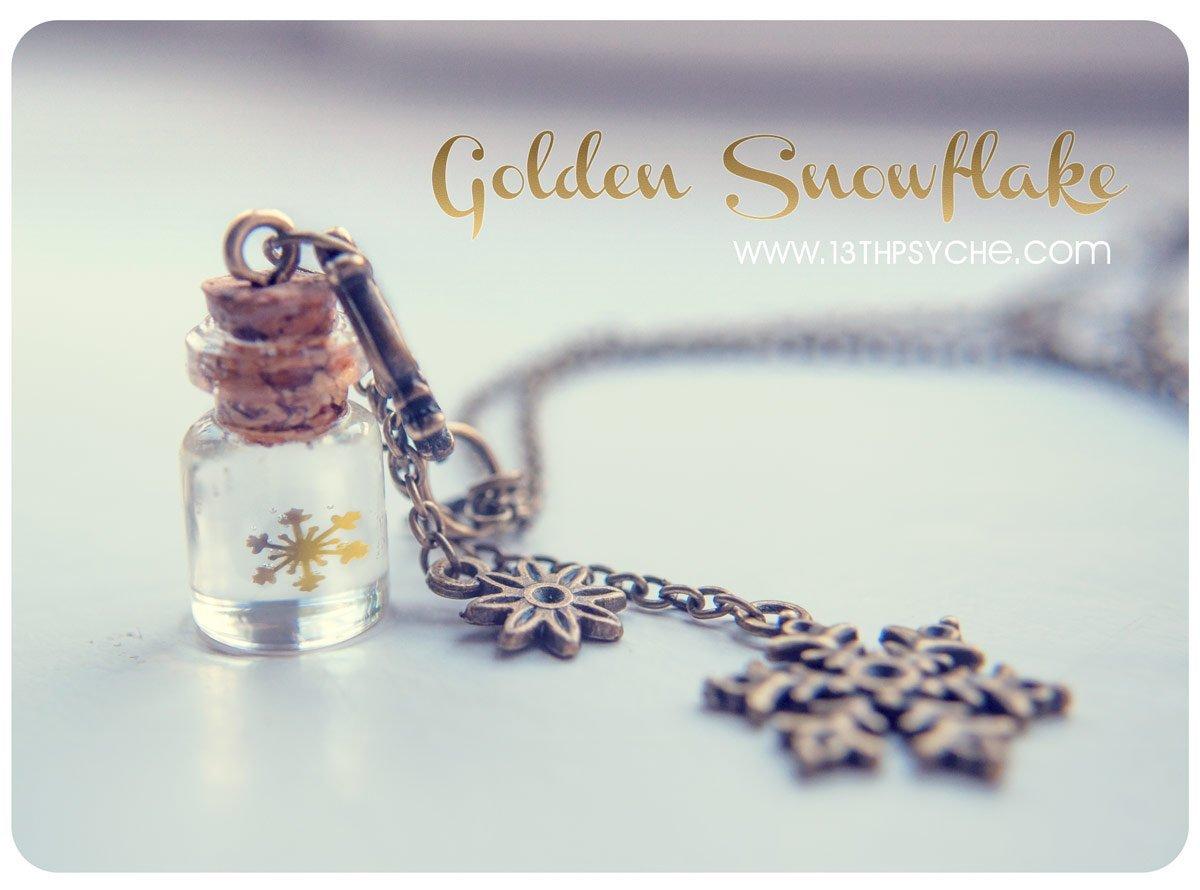 Collar de cristal copo de nieve dorado. collar de copo de nieve. colgante de botella en miniatura, collar de navidad, regalo para mujer.