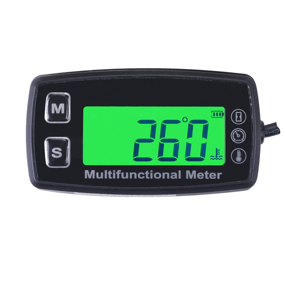 RunLeader RL-HM035T -20-300 Inductive tachometer with hour meter thermometer backlit display for all gasoline engine ATV UTV dirtbike motobike motocycle snowmobile PWC marine boat waterproof TS003