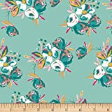 Art Gallery Wild Bloom Corsage Charm Aqua Turquoise Fabric By The Yard