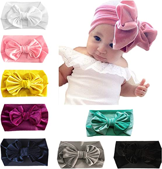 0a94fda488bf1 Baby Girl Nylon Headbands Newborn Infant Toddler Hairbands with Bows  Children Hair Accessories (Pleuche Bow(8pcs))