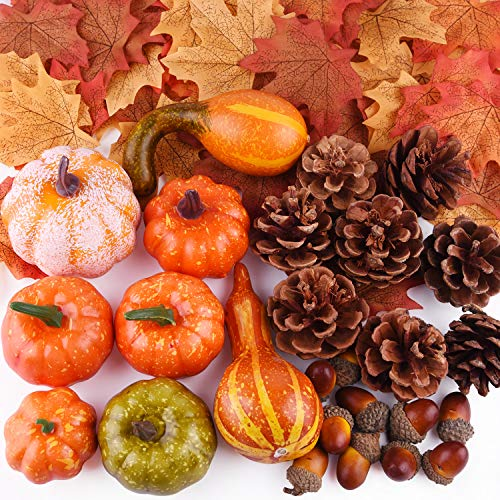 FEPITO 56 Pcs Fall Thanksgiving Decorations, Mini Artificial Pumpkins, Pine Cones, Fall Leaves, Acorns for Fall Party Decorations, Autumn Decorating Kit Halloween Thanksgiving Party Supplies