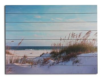 Panorama blau Holz Holzbild Strandidyll