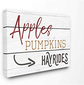 Stupell Industries Apples Pumpkins Hayrides Vintage Sign Canvas Wall Art, 16 x 20, Design by Artist Daphne Polselli