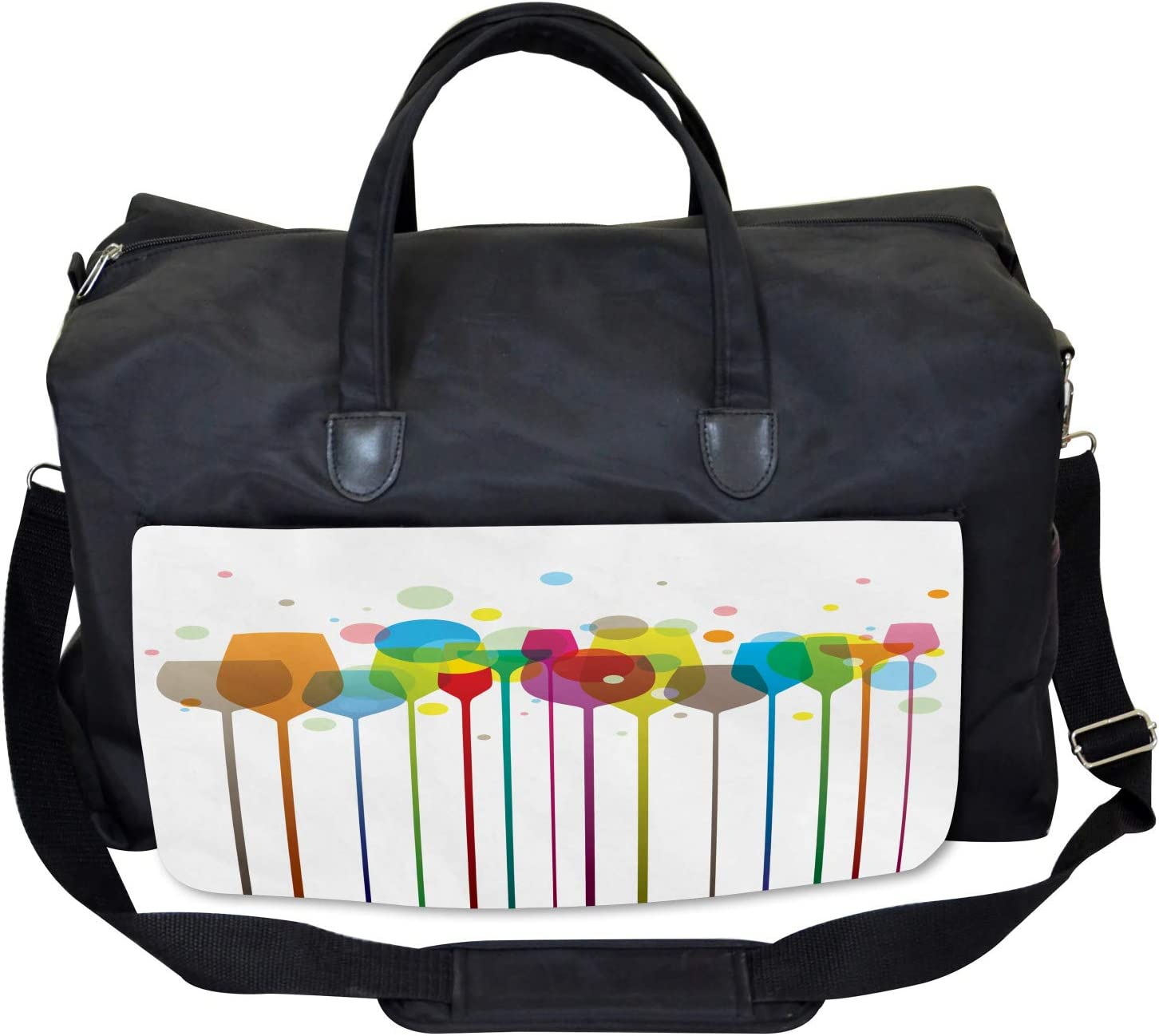 Wine Colorful Glasses Ambesonne Colorful Gym Bag Large Weekender Carry-on