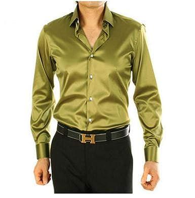14d8edc1eb0691 Long Sleeve Autumn Spring Thin Loose Casual Silk Men Dress Shirt Soft Male  top