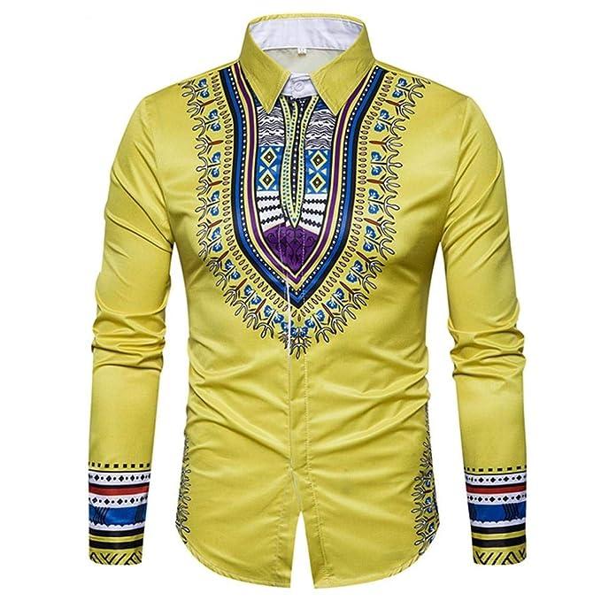 Yvelands Camisa de impresión Africana Manera Casual Jersey de impresión de Manga Larga Camiseta Top Blusa Camisas Vestido de Fiesta Vestido de Fiesta: ...