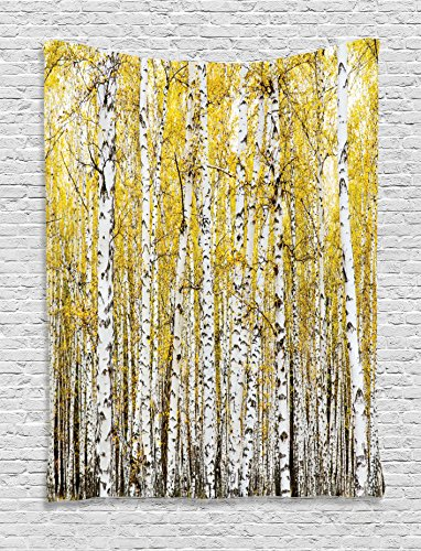 Yellow and Grey Tapestry Farm House Decor by Ambesonne, Autumn Birch Forest Golden Leaves Woodland October Seasonal Nature Theme Picture, Bedroom Living Room Dorm Wall Hanging Tapestry, Yellow Grey