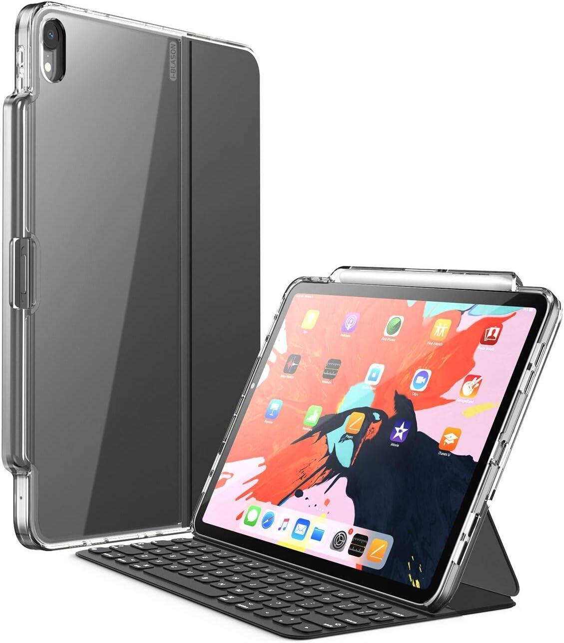 i-Blason Funda iPad Pro 12.9 2018 [Compatible con la Cubierta Oficial y el Teclado Inteligentes] Transparente Case con Soporte para lápiz para iPad Pro 12.9 Pulgadas (Transparente)