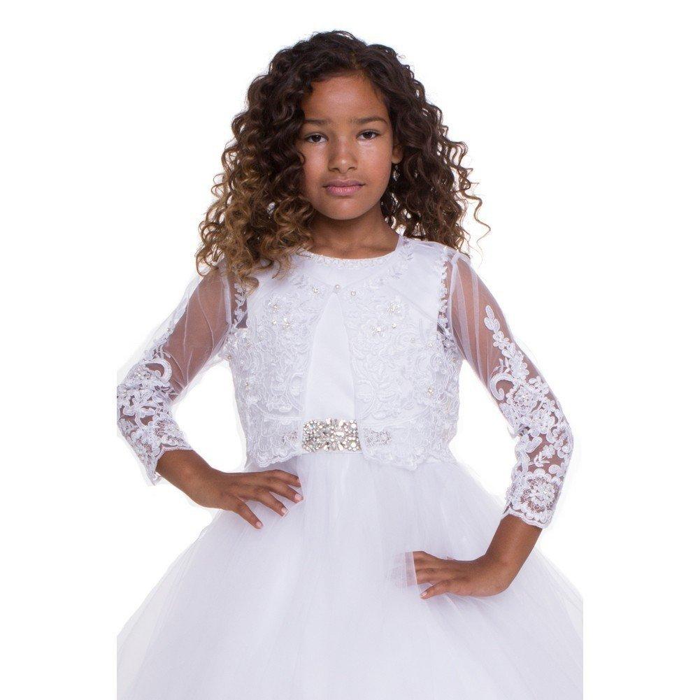 Petite Adele Big Girls White Beaded Floral Embroidered Long Sleeve Bolero 16