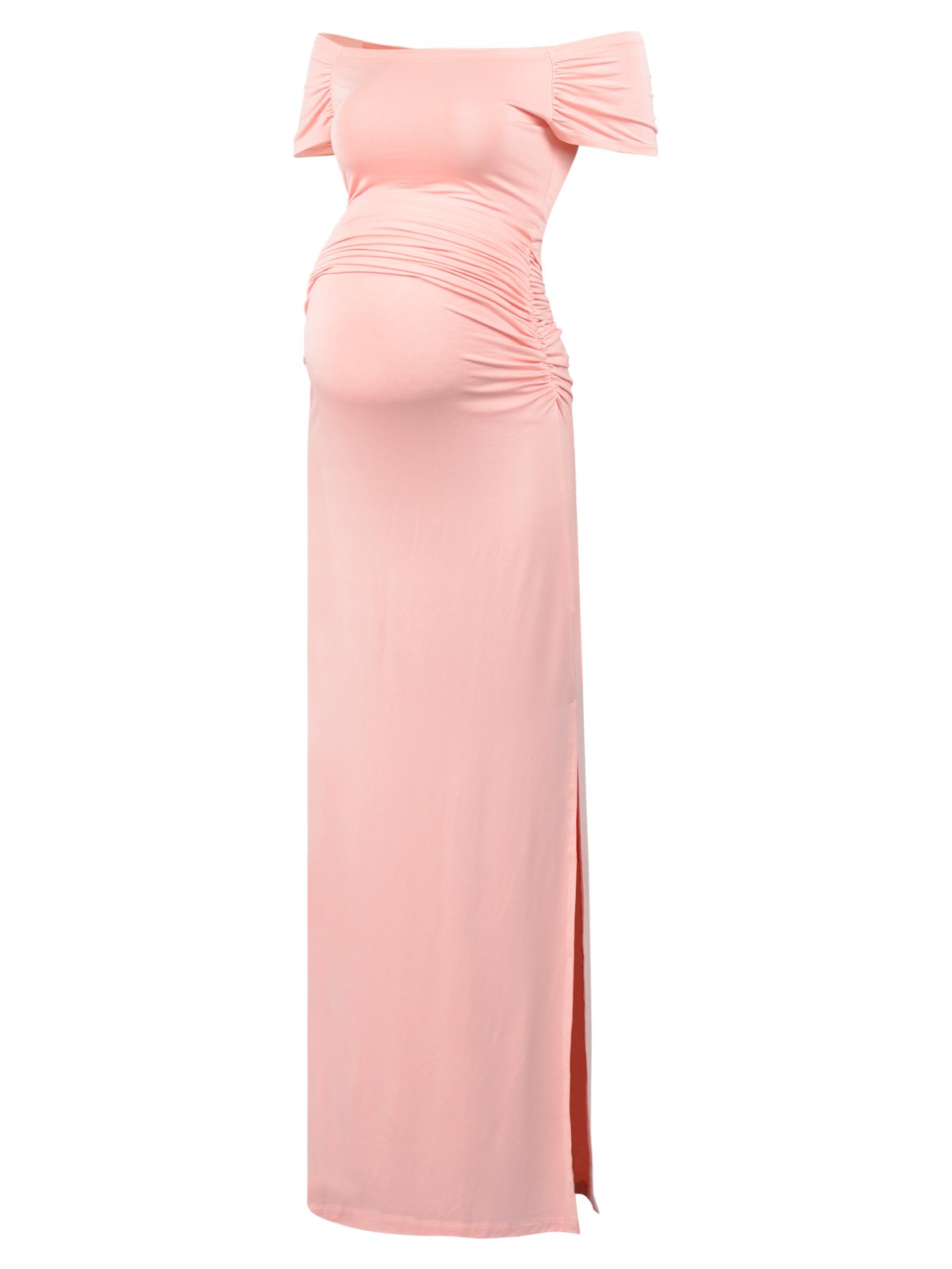 BlackCherry Women's Off Shoulder Short Sleeve Maternity Casual Maxi Dress