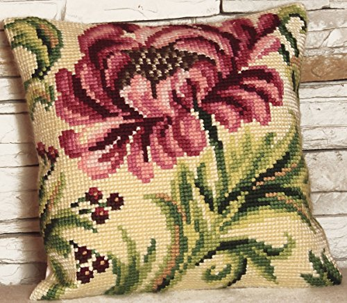 - Collection D'art Stamped Needlepoint Cushion Kit 40x40cm-rose Sauvage A Droite