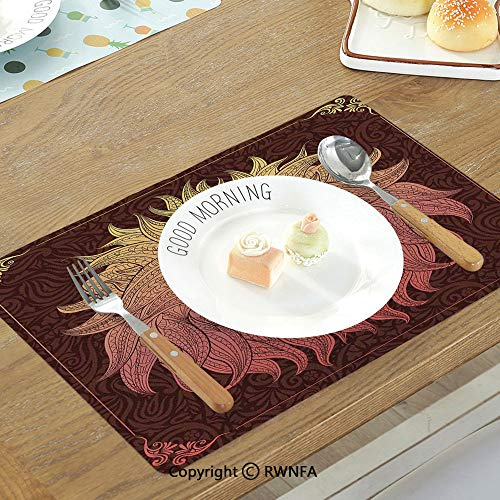 Place-mats Table mat Equestrian Horse Sea at Sunset Time Horizon Speed Exotic Nature Animal Picture Art Non-Slip Heat Resistant Decor Placemat Salmon Dark Brown