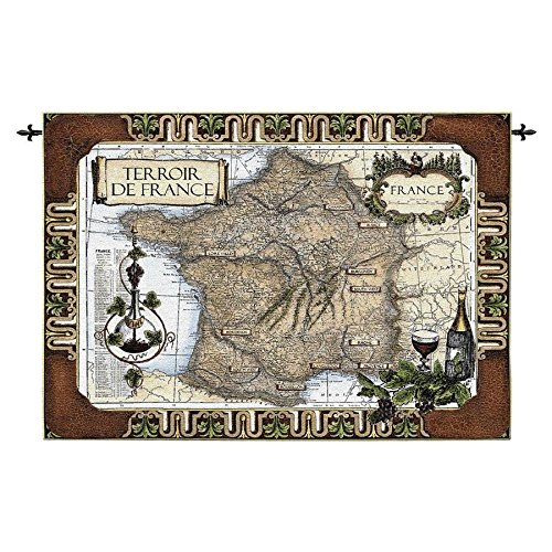 Design Toscano French Wine Country: Old World Map Wall Tapestry - French Toscana Wine