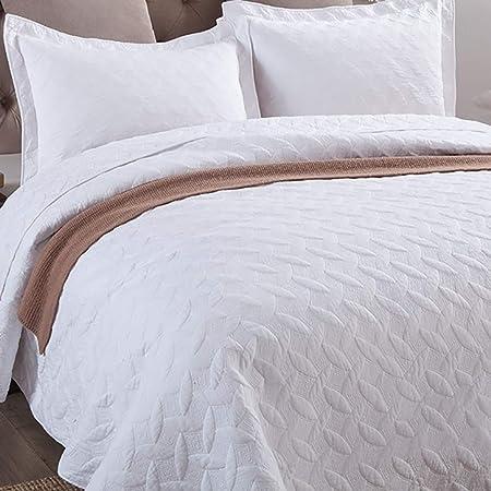 WDXN Colcha Bouti Colcha de Algodon Colcha para Cama 135 O 150,Edredón Bordado Lavable de Color Liso Acolchado con 2 Fundas de Almohada,White,245 * 270cm: Amazon.es: Hogar