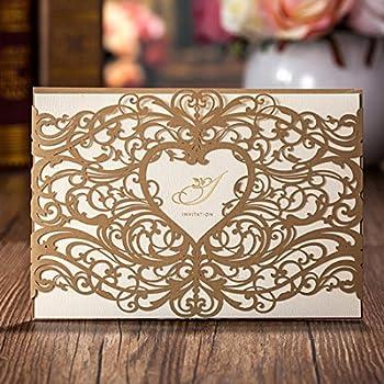 Amazon wishmade gold heart laser cut wedding invitations cards wishmade gold heart laser cut wedding invitations cards kits 50 pieces elegant floral paper invites for filmwisefo