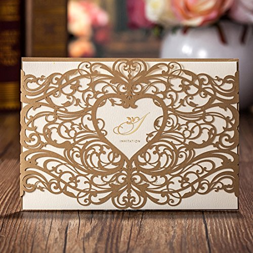 Wishmade Gold Laser Cut Wedding Invitations Cardstock With Elegant Heart Hollow Floral for Birthday Baby Shower with Envelopes (pack of 50pcs)