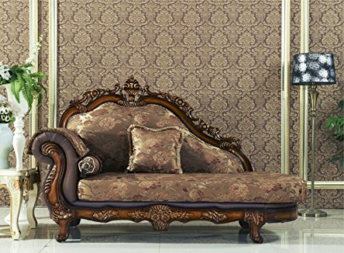Meridian Furniture 693-CH Seville Solid Wood Upholstered Chaise Lounge with Traditional Hand Carved Designs, Rolled Arm, and Imported Fabrics, Cherry Finish