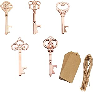 Yuokwer Pack of 50 Rose Gold Skeleton Key Bottle Opener with Escort Tag Card and Twine for Wedding Favors Baby Shower Return Gifts for Guests Party Favors (Mixed 5 Styles Rose Gold)