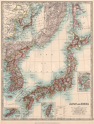 Amazon japan korea including southern sakhalin island taiwan japan korea including southern sakhalin island taiwan johnston 1912 old map gumiabroncs Gallery