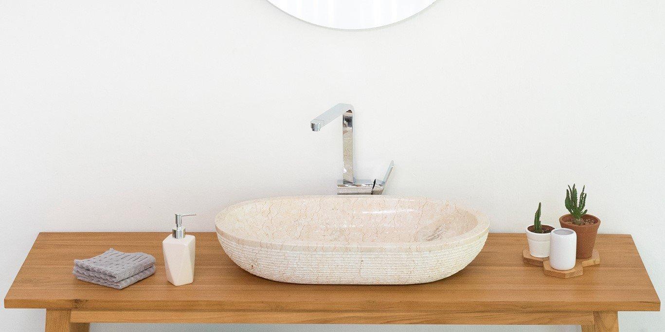 wohnfreuden Marmor Waschbecken Mara 70x40x13 cm oval geh/ämmert Unikat in Creme