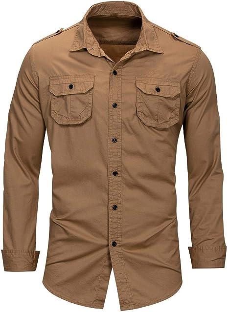 Shenhai Camisas Camisas para Hombres Camisa de Manga Larga de Solapa de algodón para Hombres de Gran tamaño, Caqui, XXL: Amazon.es: Hogar