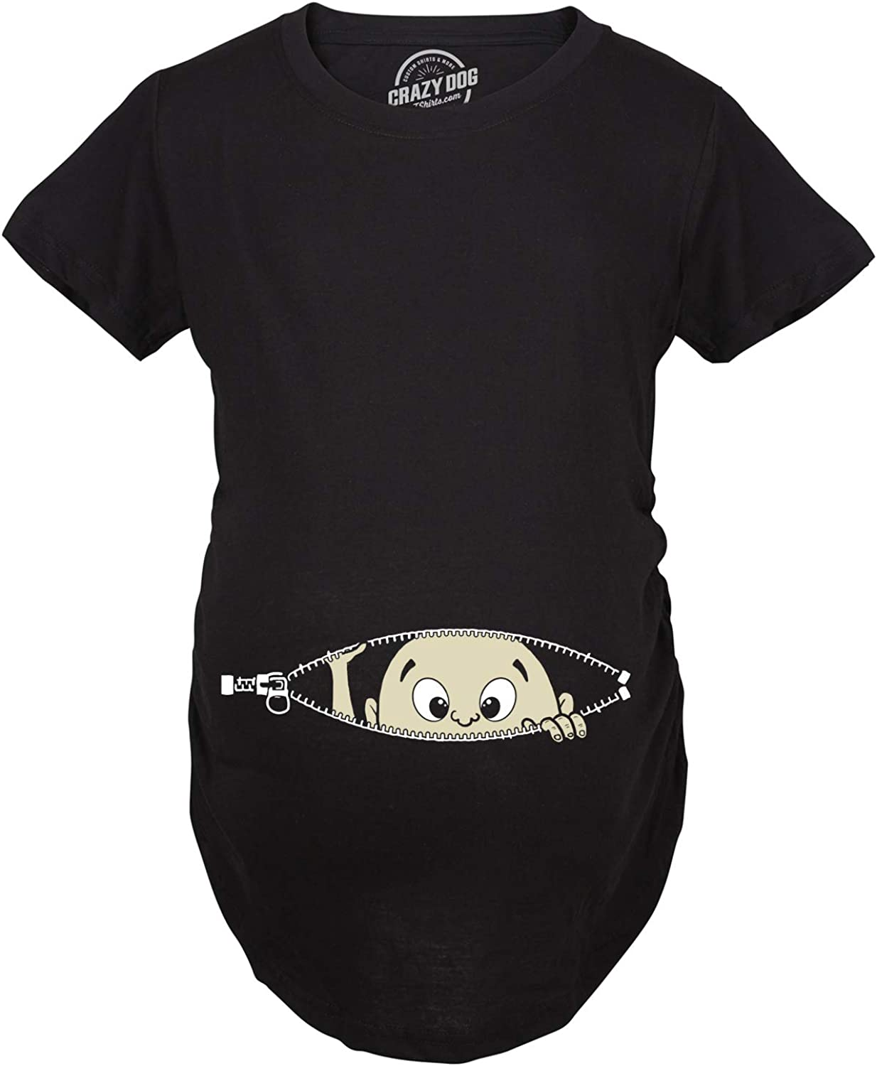 Crazy Dog Tshirts Maternity Baby Peeking T Shirt Funny Pregnancy Tee for Expecting Mothers Damen