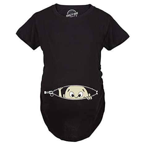 99b3004e Maternity Baby Peeking Shirt Funny Pregnancy Cute Announcement Pregnant T  shirts (Black) 3XL