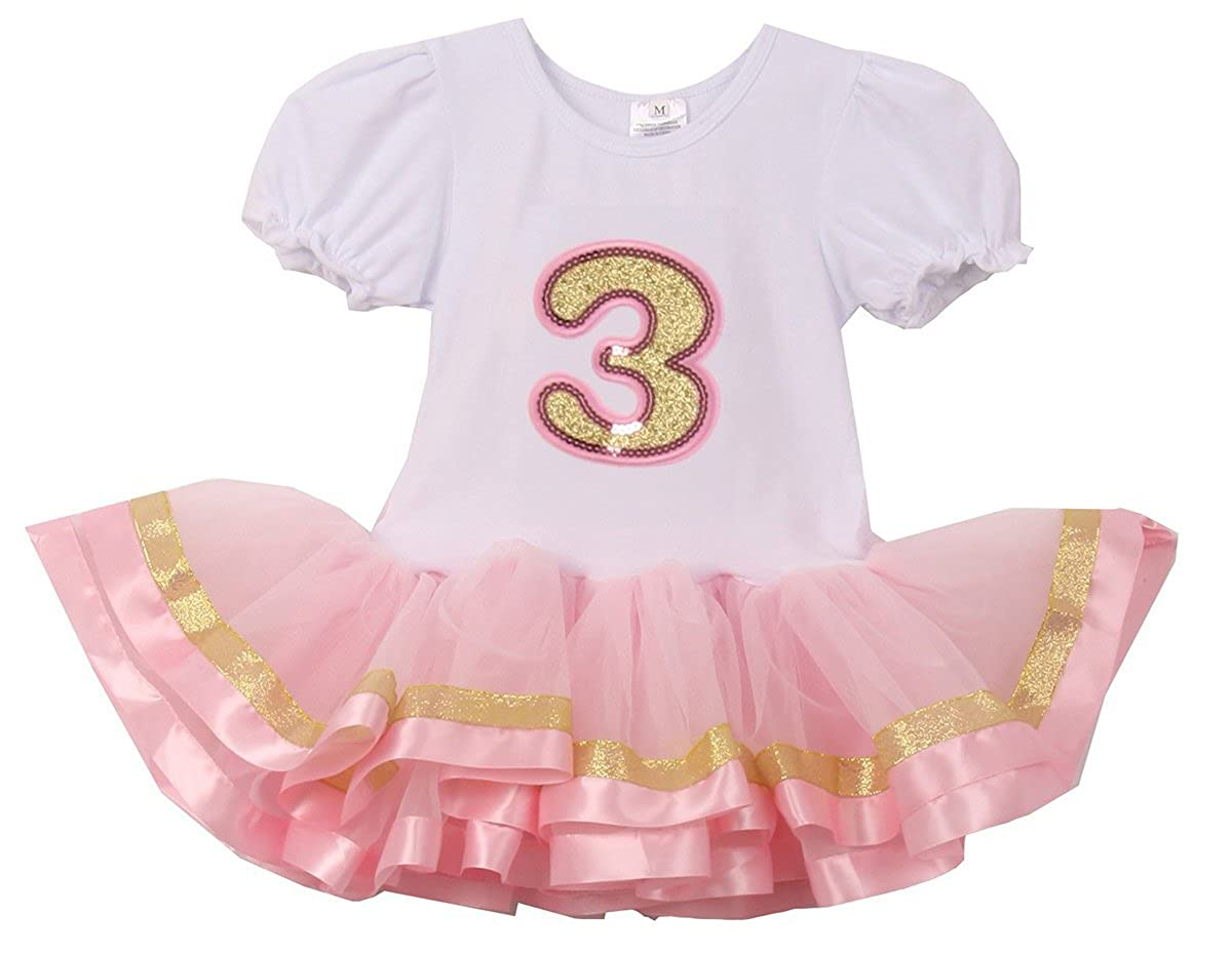 Baby Girls Cute Short Sleeve Number Birthday Party Girl Tutu Dresses Size 1-3