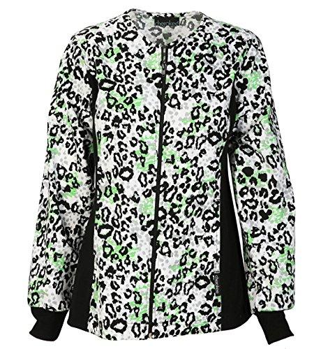 Cherokee Women's Zip Front Animal Print Scrub Jacket XXXX-Large - Print Animal Jacket Zip