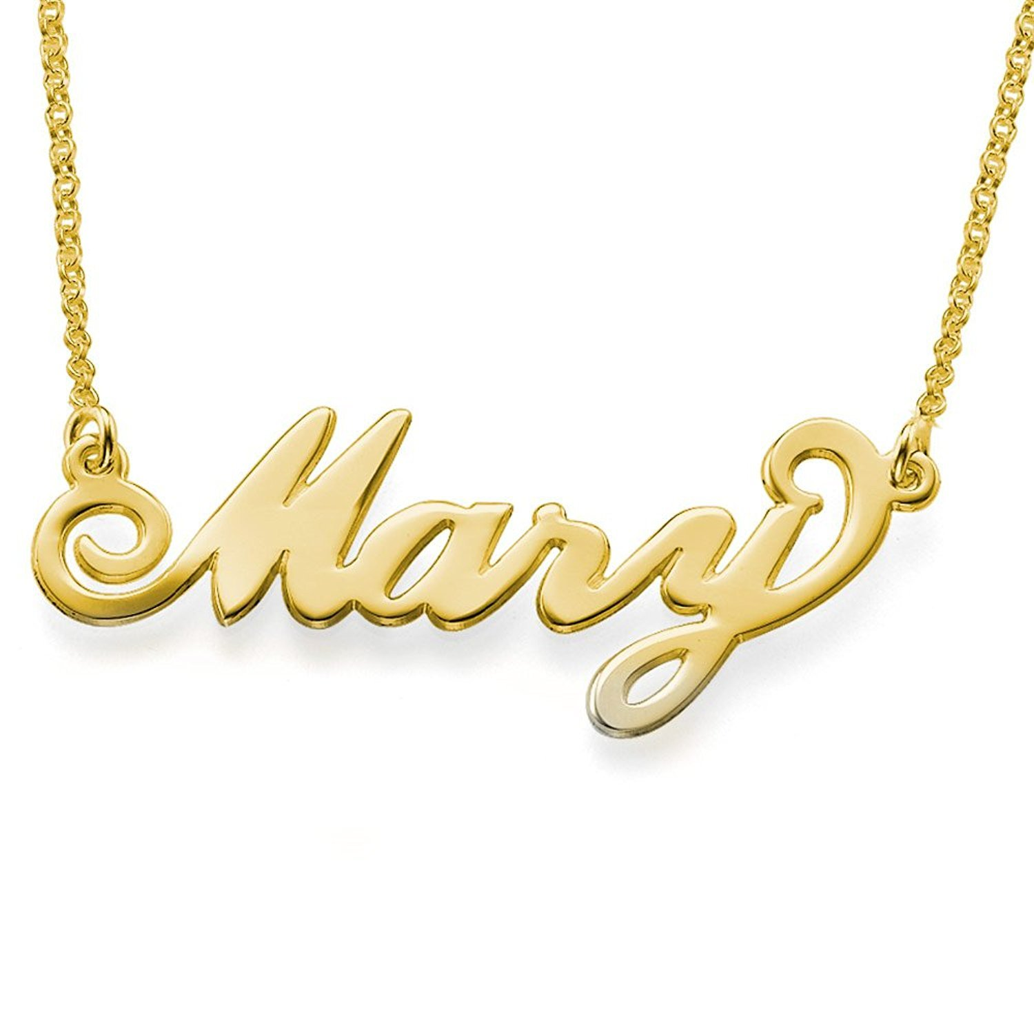 LONAGO Personalized Name Necklace 18K Gold Over Brass Custom Any Name Father's