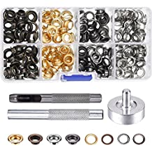 Pangda 200 Set Grommets with 3 Pieces Grommet Tools for Canvas Clothes Leather, 1/4 Inch