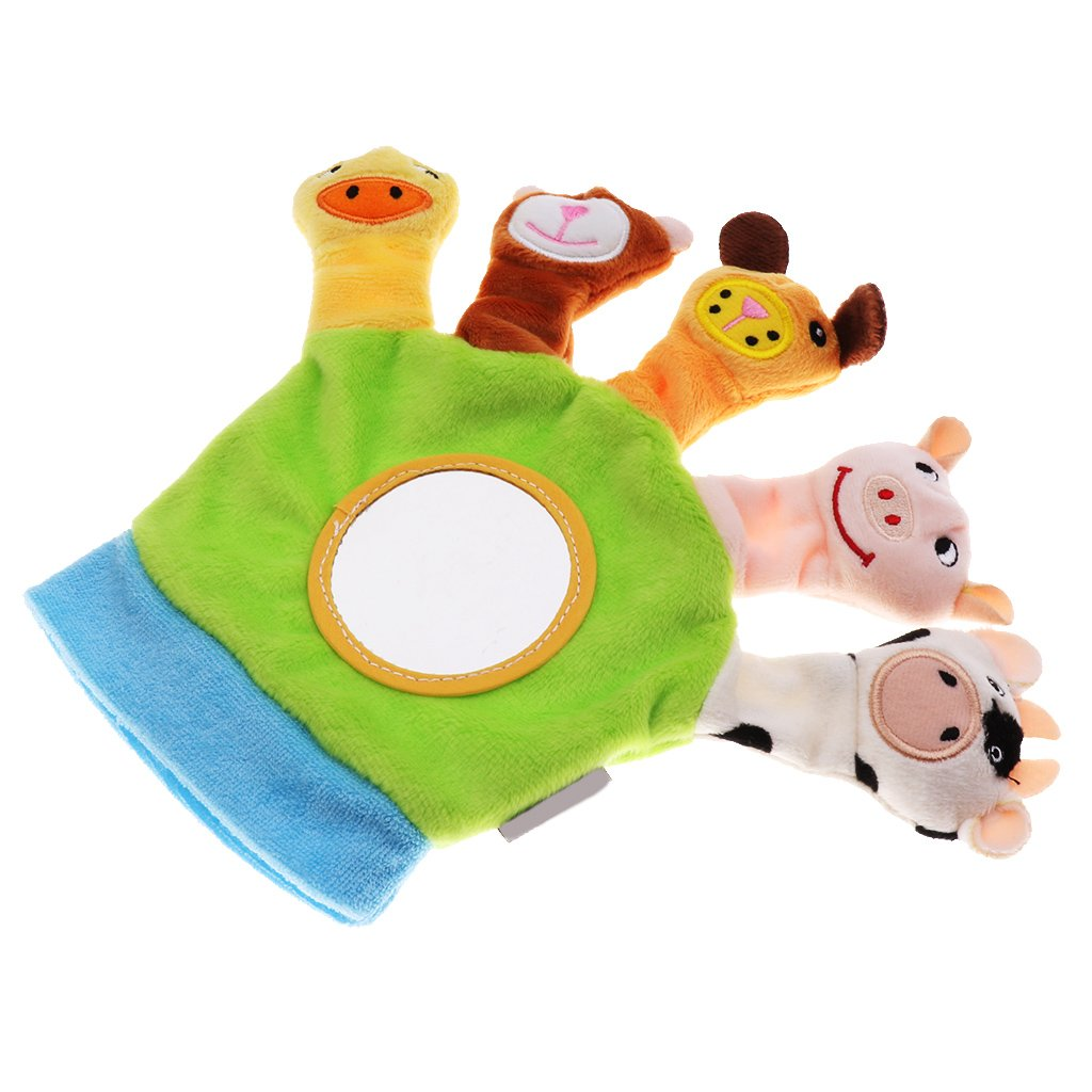Baoblaze Cute Baby Child Zoo Farm Animal Hand Sock Glove Puppet Finger Sack Plush Toy - Green, as described