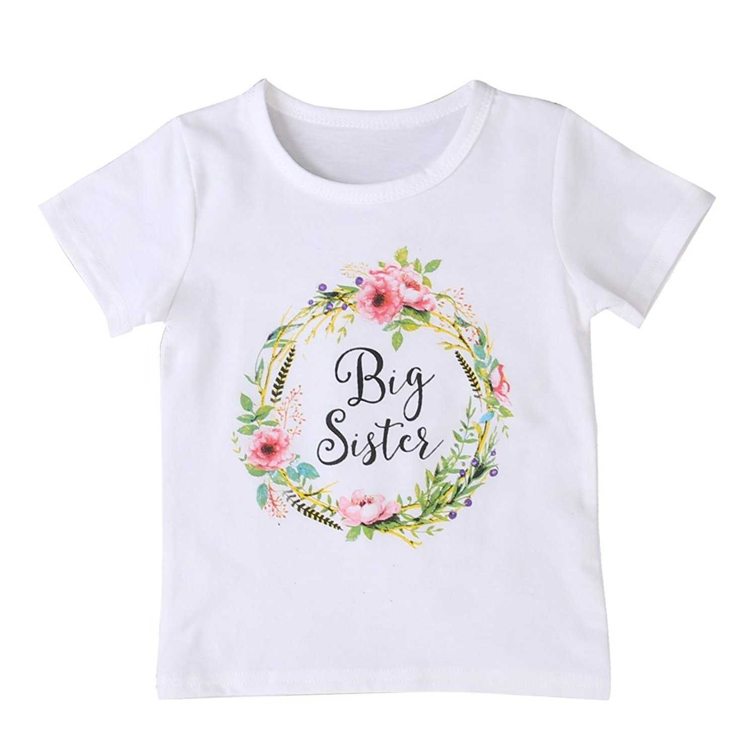 FIZUOXVE Infant Girls Short Sleeve Lovely Floral Print Bodysuit T-Shirt Little Sister Clothes Outfit CL1181