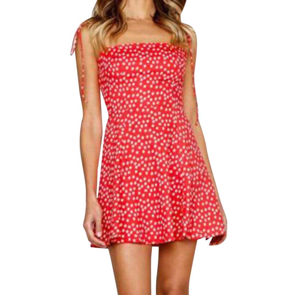 Women Polka Dot Print Dress Fabal Sleeveless Wear Slim Fit Suit Sets Party and Evening Dot Mini Dress Red
