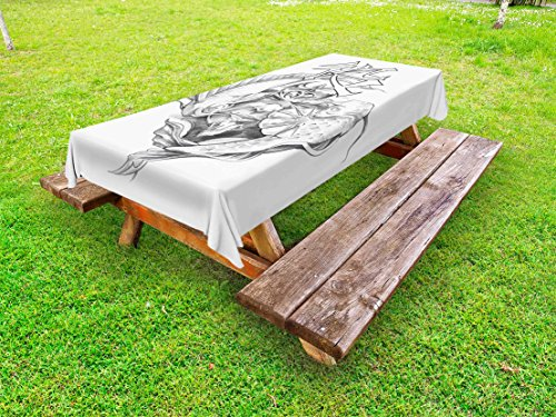 Lunarable Tattoo Outdoor Tablecloth, Ancient Tribal Unicorn Icon with Human Face and Koi Fish Chinese Dragon Artwork, Decorative Washable Picnic Table Cloth, 58 X 104 inches, Grey White ()