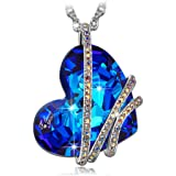 """QIANSE """"Heart of the Ocean"""" Classic Pendant Necklace Made with Swarovski Crystals - Symbol of Love"""