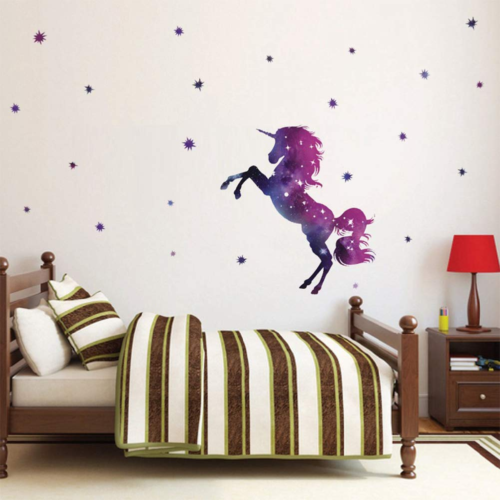 Spectacular 3D Wall Decor Unicorn Wall Decal Stickers Set of 4 Easy to Stick Removable Wall Decals for Kids Teens Bedrooms Boys Girls Rooms Peel and Stick