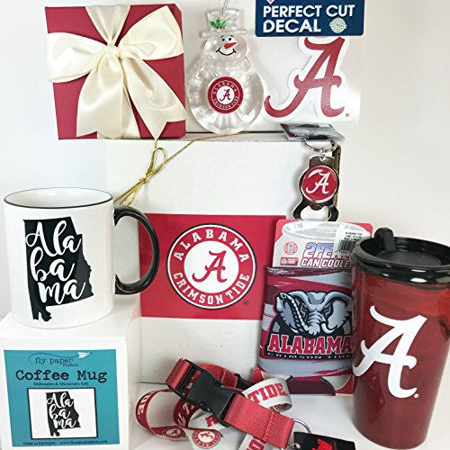University of Alabama Winter Gift Box Basket - 7 Crimson Tide Items & 1 Truffles - Perfect for Men and Women Alumni, Students, and Fans - Roll Crimson Tide - Prime