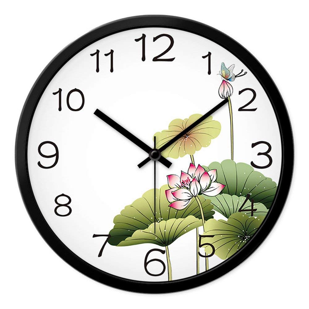 CWJ Clock- Wall Clock Metal Simple Personality Quiet Clock 12 Inches / 14 Inches Fashion Chinese Garden Clock Living Room Creative Clocks Bedroom Quiet Quartz Clock Wall Decoration Artwork,14 Inches-