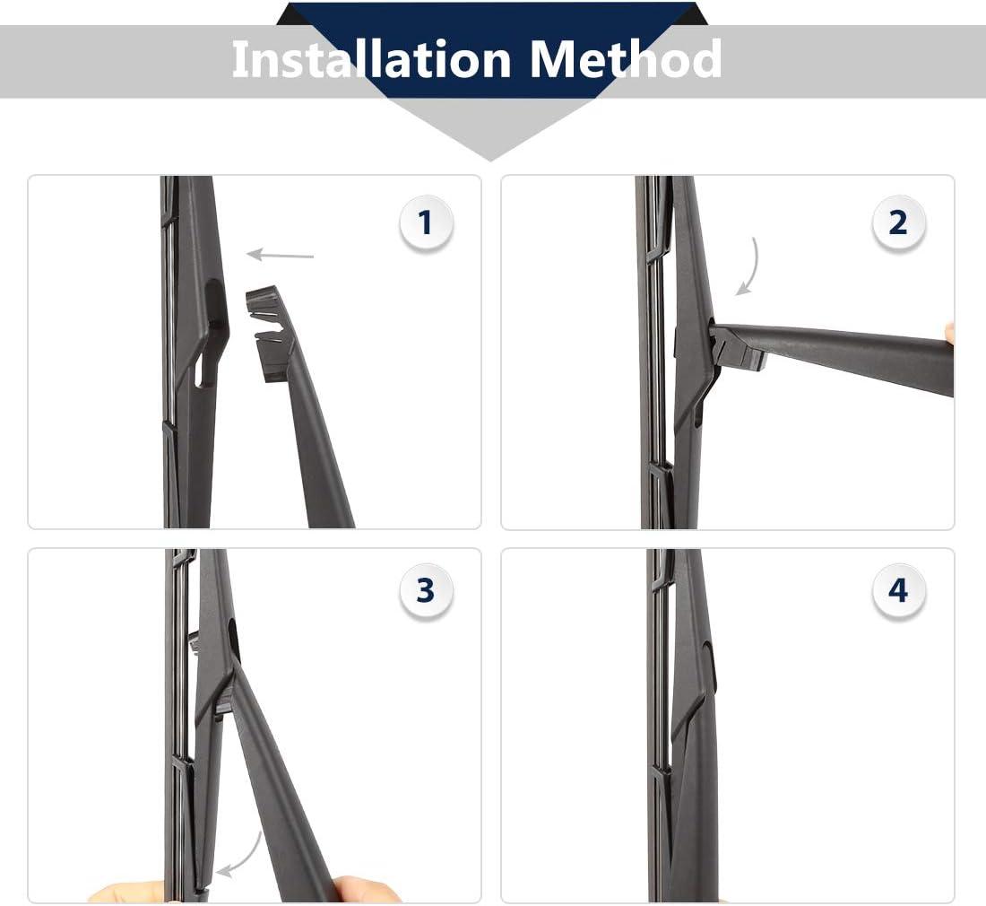 X AUTOHAUX Rear Windshield Wiper Blade Arm Set for 2012-2019 Opel Zafira 360mm 14inch